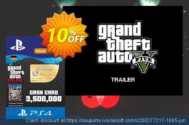 GTA Whale Shark Card PS4 (Germany) discount 10% OFF, 2020 Back to School promotion sales