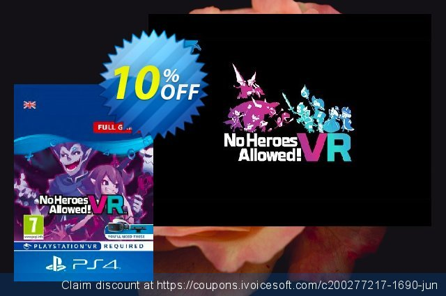 No Heroes Allowed VR PS4 discount 10% OFF, 2020 Back to School shopping offering sales