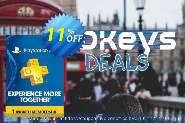 Playstation Plus - 1 Month Subscription (Austria) discount 11% OFF, 2020 Back to School coupons promo sales