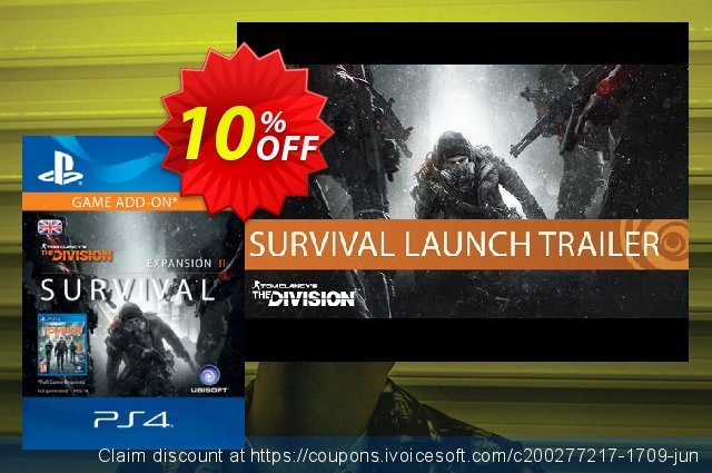 Tom Clancy's The Division Survival PS4 (UK) discount 10% OFF, 2020 Back-to-School promotions offering sales