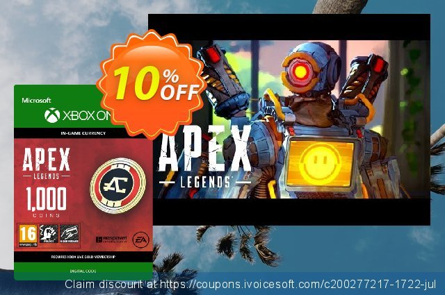 Apex Legends 1000 Coins Xbox One discount 10% OFF, 2020 College Student deals promotions