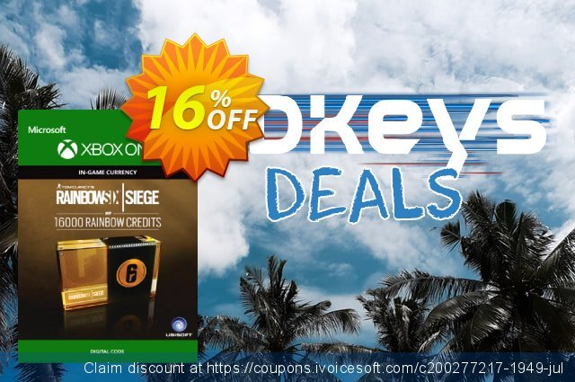 Tom Clancy's Rainbow Six Siege 16000 Credits Pack Xbox One discount 13% OFF, 2020 Exclusive Teacher discount discounts
