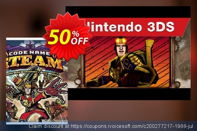 Code Name: S.T.E.A.M. 3DS - Game Code discount 50% OFF, 2020 Exclusive Student deals promotions