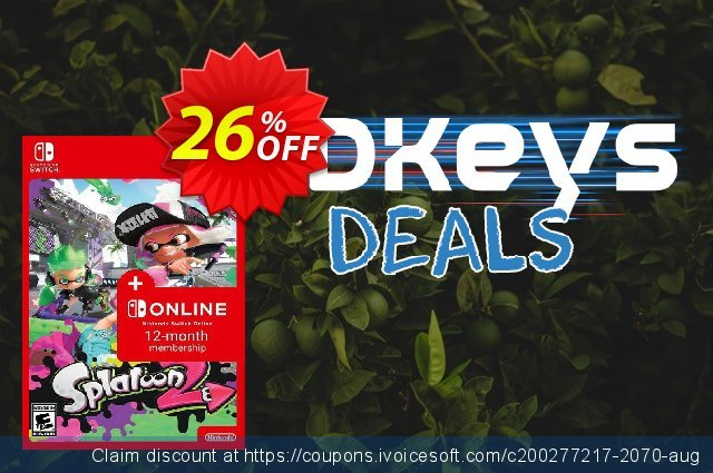 Splatoon 2 + 12 Month Membership Switch discount 26% OFF, 2020 Back to School coupons offering sales