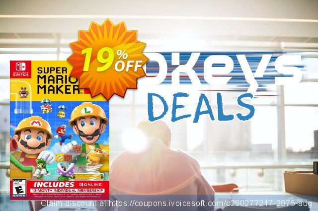 Super Mario Maker 2 + 12 Month Membership Switch discount 19% OFF, 2020 Halloween offering sales
