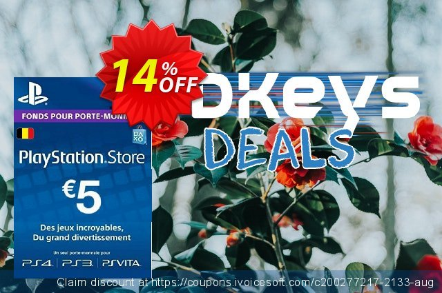 PlayStation Network (PSN) Card - 5 EUR (Belgium) discount 14% OFF, 2020 Back to School coupons offering sales