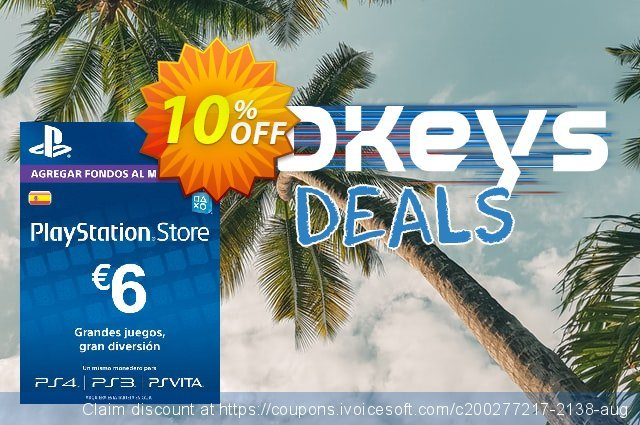 PlayStation Network (PSN) Card - 6 EUR (Spain) discount 10% OFF, 2020 Exclusive Teacher discount offering sales