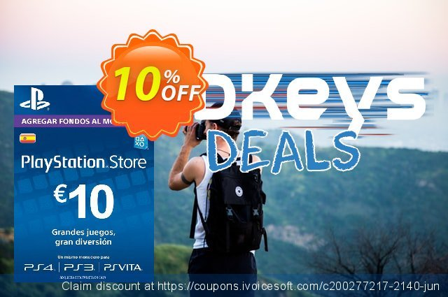 PlayStation Network (PSN) Card - 10 EUR (Spain) discount 10% OFF, 2020 University Student deals promotions
