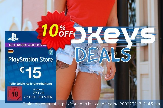 PlayStation Network (PSN) Card - 15 EUR (Germany) discount 10% OFF, 2020 Halloween offering sales