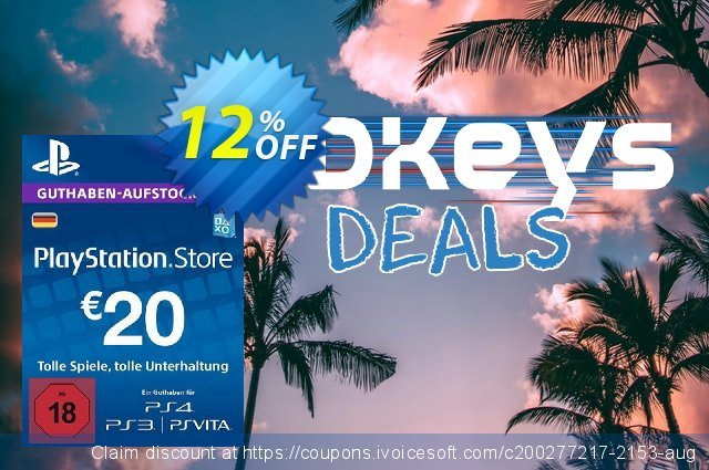 PlayStation Network (PSN) Card - 20 EUR (Germany) discount 12% OFF, 2020 Halloween offering sales