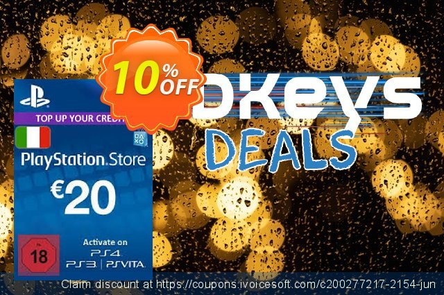 PlayStation Network (PSN) Card - 20 EUR (Italy) discount 10% OFF, 2021 World Bicycle Day offering sales. PlayStation Network (PSN) Card - 20 EUR (Italy) Deal