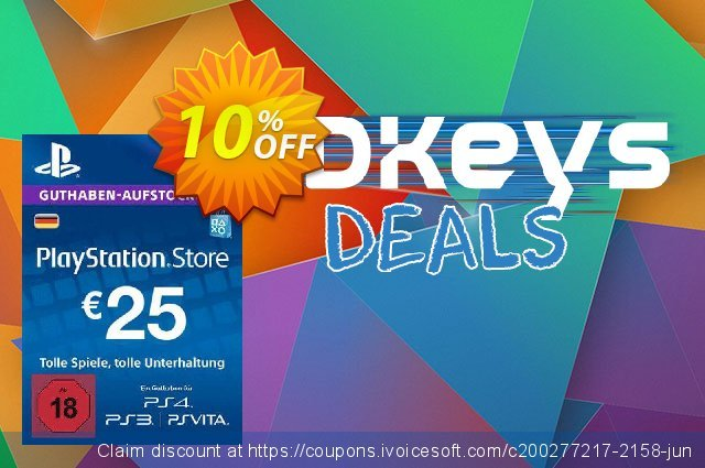 PlayStation Network (PSN) Card - 25 EUR (Germany) discount 10% OFF, 2020 Exclusive Student discount discounts
