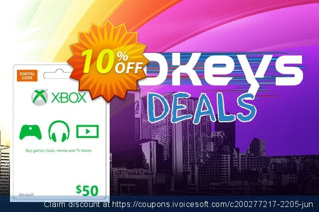 Microsoft Gift Card - $50 (Xbox One/360) discount 10% OFF, 2020 College Student deals promo sales