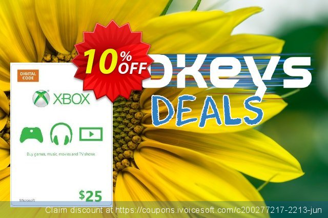 Microsoft Gift Card - $25 (Xbox One/360) discount 10% OFF, 2020 Back-to-School promotions offering sales