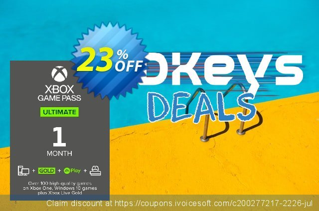 1 Month Xbox Game Pass Ultimate Xbox One / PC discount 10% OFF, 2021 Summer offering deals. 1 Month Xbox Game Pass Ultimate Xbox One / PC Deal