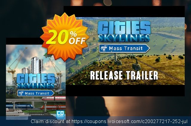 Cities: Skylines PC - Mass Transit DLC discount 10% OFF, 2020 Christmas Day offering sales