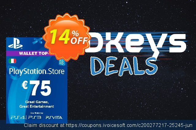 Playstation Network (PSN) Card - 75 EUR (Italy) discount 10% OFF, 2020 Black Friday offering sales