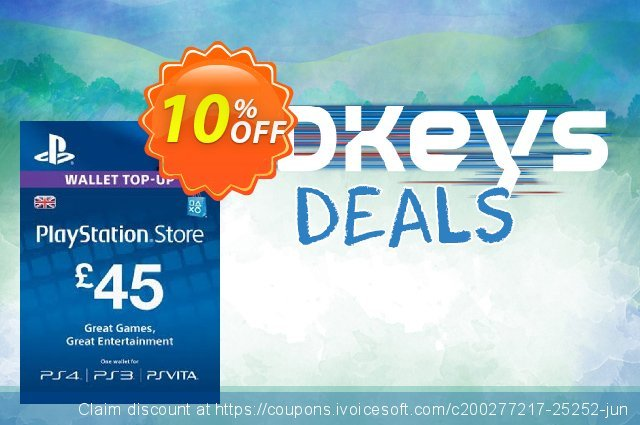 Playstation Network (PSN) Card - 45 GBP discount 10% OFF, 2020 Thanksgiving sales
