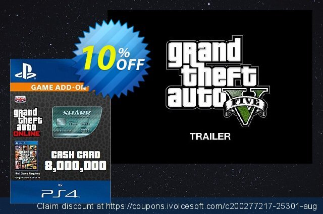Grand Theft Auto Online (GTA V 5): Megalodon Shark Cash Card PS4 discount 10% OFF, 2021 National Women month discount