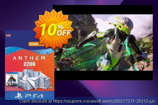 Anthem 2200 Shards PS4 (UK) discount 10% OFF, 2020 Halloween offer