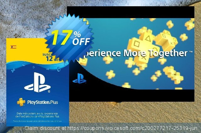PlayStation Plus (PS+) - 12 Month Subscription (Spain) discount 16% OFF, 2020 Exclusive Student deals promo