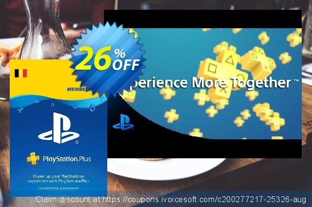 Playstation Plus (PS+) - 12 Month Subscription (Belgium) discount 31% OFF, 2020 College Student deals offering sales