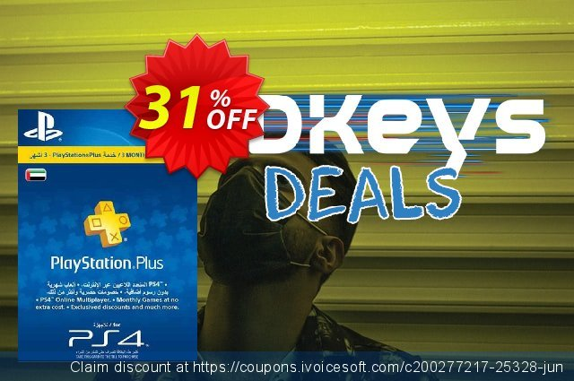 PlayStation Plus - 3 Month Subscription (UAE) discount 31% OFF, 2021 Kissing Day offering sales. PlayStation Plus - 3 Month Subscription (UAE) Deal