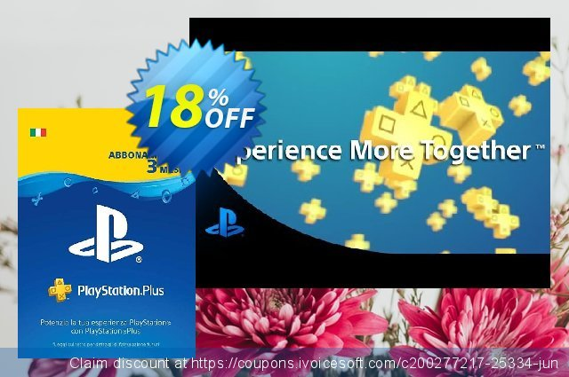 PlayStation Plus (PS+) - 3 Month Subscription (Italy) discount 14% OFF, 2020 Halloween offering sales