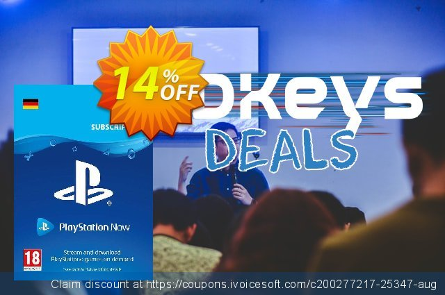 PlayStation Now 12 Month Subscription (Germany) discount 14% OFF, 2021 Daylight Saving offering sales