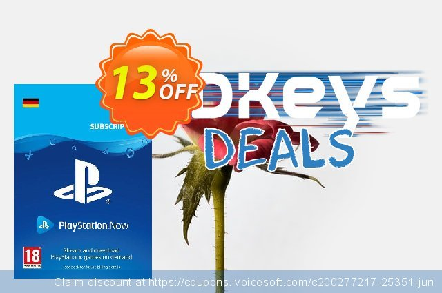 PlayStation Now 3 Month Subscription (Germany) discount 13% OFF, 2021 Oceans Month promotions. PlayStation Now 3 Month Subscription (Germany) Deal