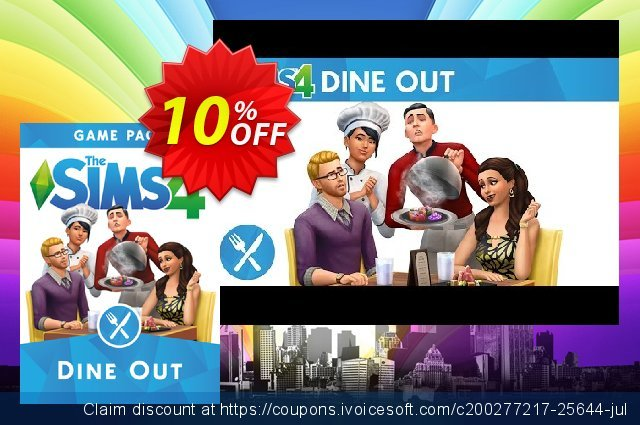 The Sims 4 - Dine Out Game Pack PC discount 10% OFF, 2020 Year-End offering sales