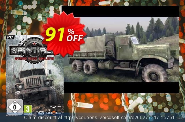Spintires PC discount 90% OFF, 2020 Thanksgiving Day offering sales
