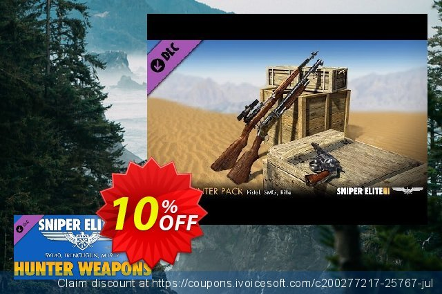 Sniper Elite 3 Hunter Weapons Pack PC discount 10% OFF, 2020 Black Friday offer