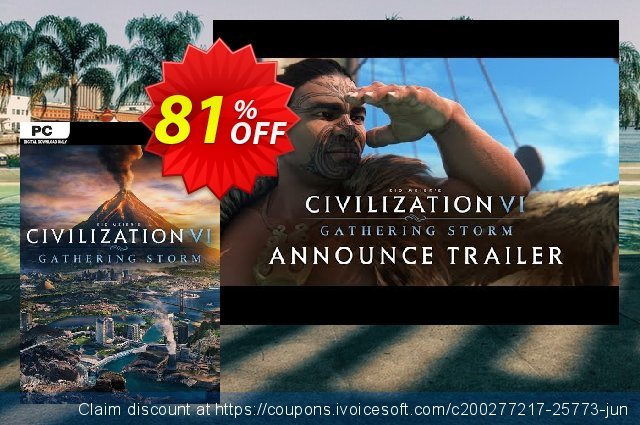 Sid Meiers Civilization VI 6 PC Gathering Storm DLC (EU) 令人吃惊的 折扣码 软件截图