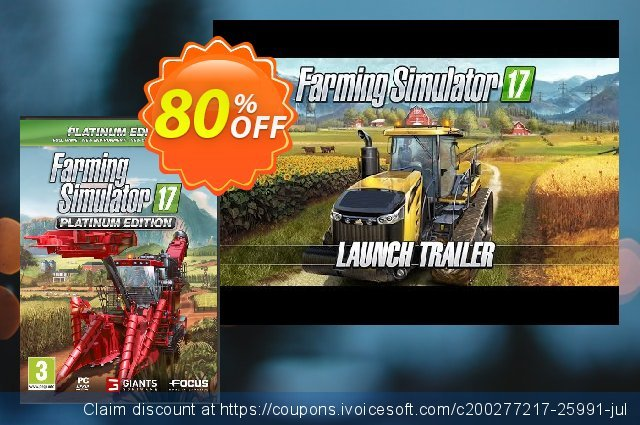 Farming Simulator 17 Platinum Edition PC discount 40% OFF, 2020 Thanksgiving Day discounts