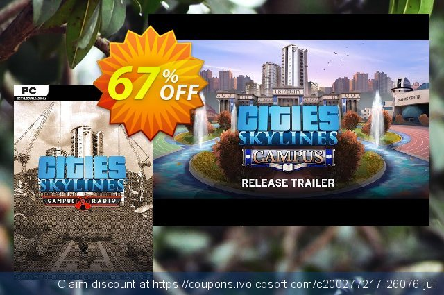 Cities Skylines PC - Campus Rock Radio DLC discount 48% OFF, 2020 Year-End promo
