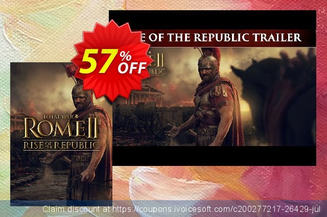 Total War ROME II 2 PC - Rise of the Republic DLC discount 63% OFF, 2021 January promo