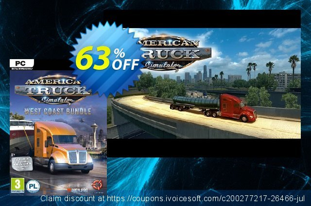 American Truck Simulator - West Coast Bundle PC discount 52% OFF, 2021 New Year's Weekend promo sales