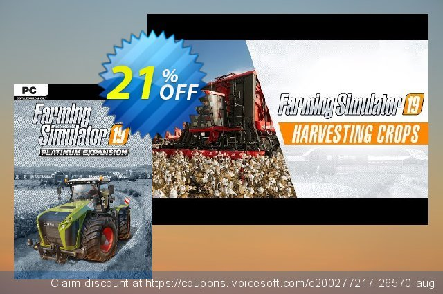 Farming Simulator 19 PC - Platinum Expansion DLC discount 21% OFF, 2021 Happy New Year offering sales