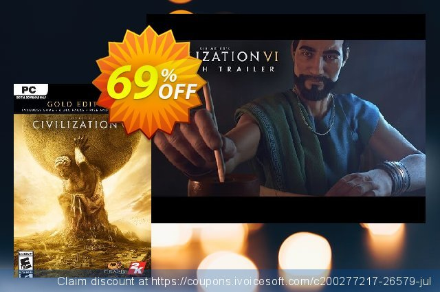 Sid Meiers Civilization VI 6 Gold Edition PC discount 69% OFF, 2021 Spring offering deals