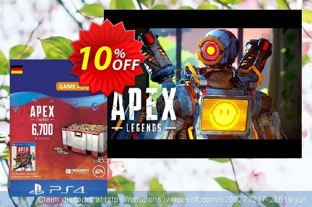 Apex Legends 6700 Coins PS4 (Germany) discount 10% OFF, 2021 Happy New Year promo