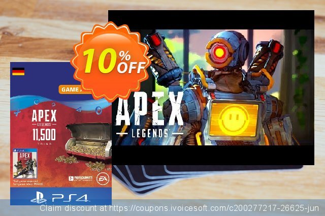 Apex Legends 11500 Coins PS4 (Germany) discount 10% OFF, 2021 January offering sales