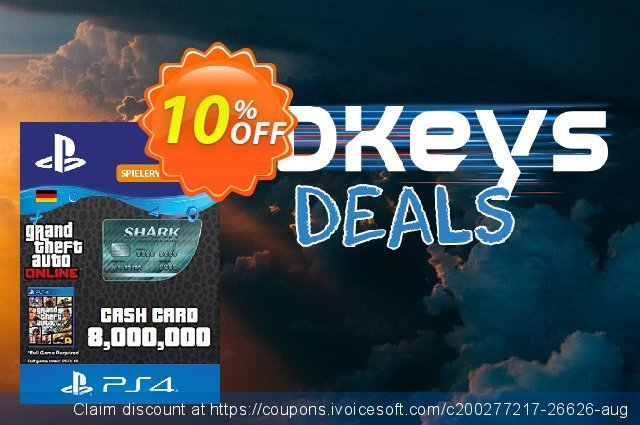 GTA Megalodon Shark Card PS4 (Germany) discount 12% OFF, 2021 Happy New Year offering sales