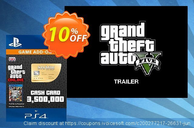 Grand Theft Auto Online (GTA V 5): Whale Shark Cash Card PS4 discount 10% OFF, 2021 Happy New Year deals