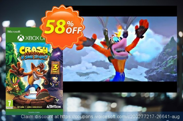 Crash Bandicoot N. Sane Trilogy Xbox One (UK) discount 38% OFF, 2021 New Year's Weekend offering sales