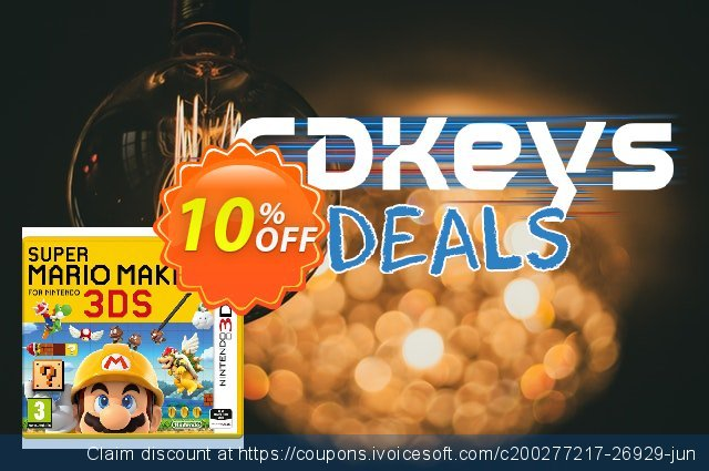 Super Mario Maker 3DS - Game Code discount 10% OFF, 2020 Thanksgiving offering sales