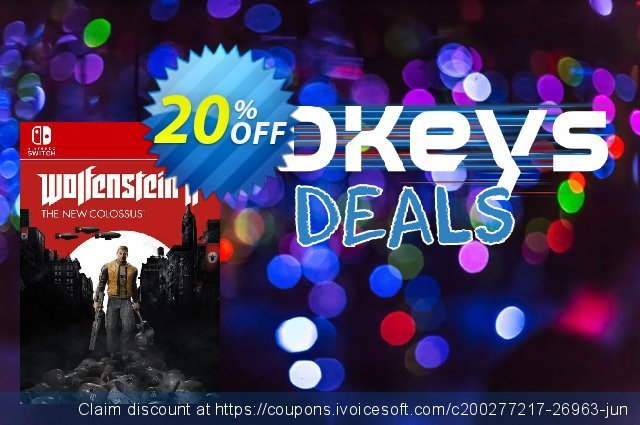 Wolfenstein II 2 The New Colossus Switch (Germany) discount 20% OFF, 2021 New Year's Weekend offering sales