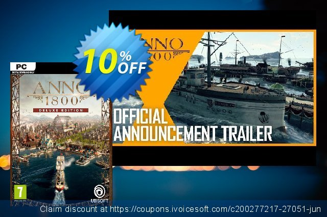Anno 1800 Deluxe Edition PC discount 10% OFF, 2021 Happy New Year discount