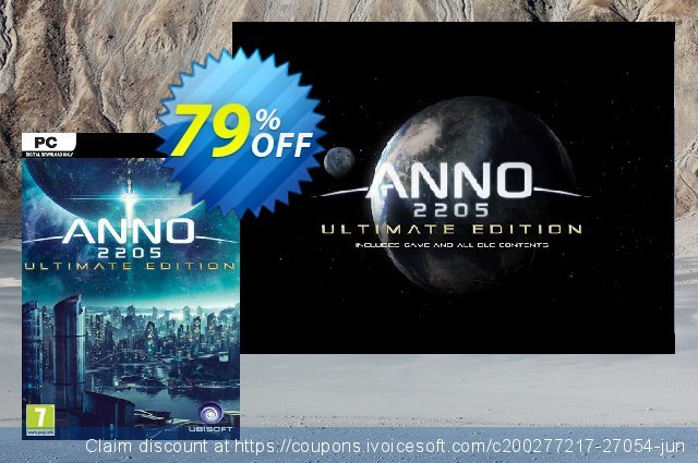 Anno 2205 Ultimate Edition PC discount 70% OFF, 2021 New Year's Weekend offering deals