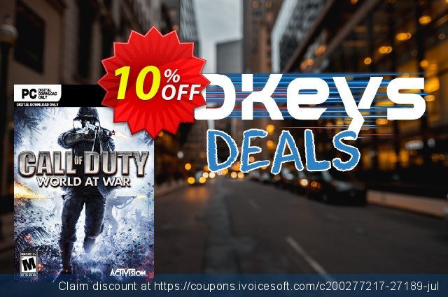 Call of Duty (COD) World at War PC discount 10% OFF, 2020 Black Friday promotions